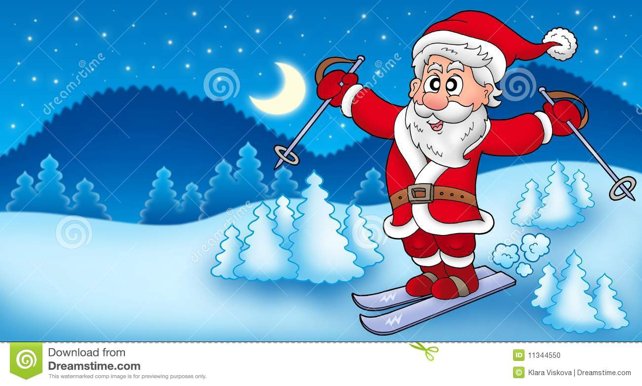 Horizontal avec le p re no l de ski illustration stock - Pere noel ski ...
