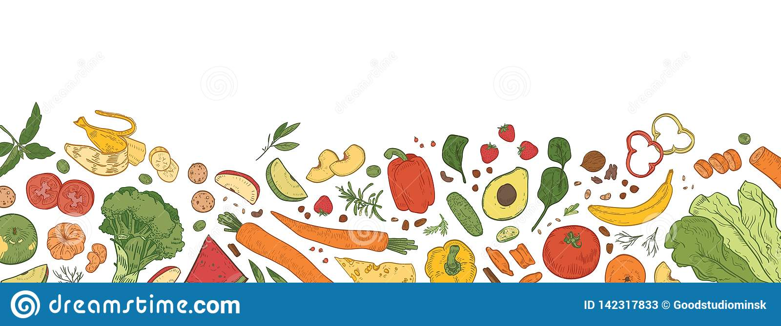 Horizontal backdrop with border consisted of fresh organic food. Banner template with tasty eco wholesome ripe