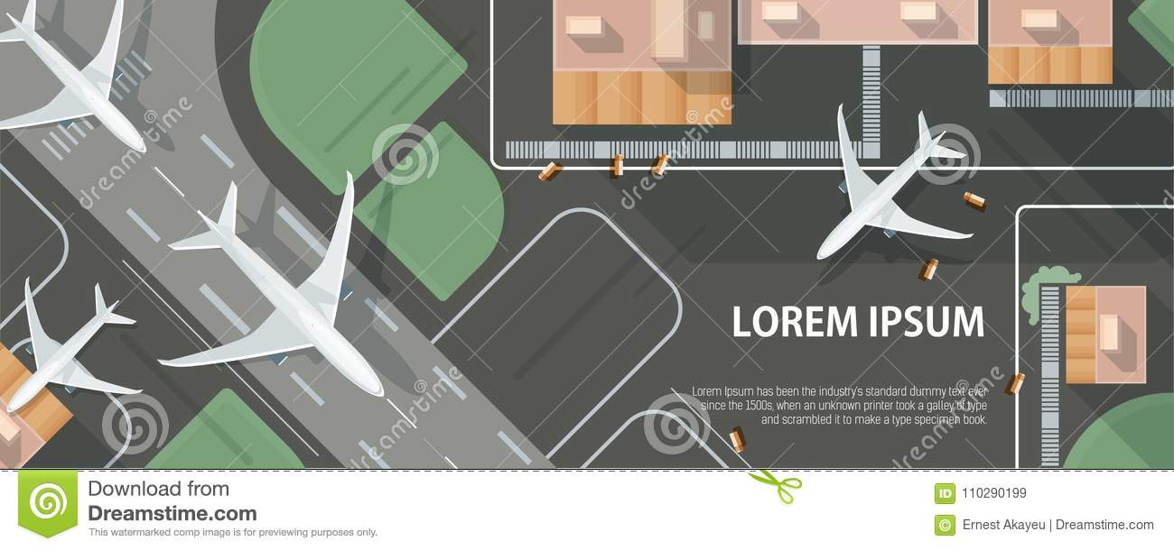 Horizontal banner with airplane taxiing and preparing for take off on runway, top view. Passenger aircraft beside