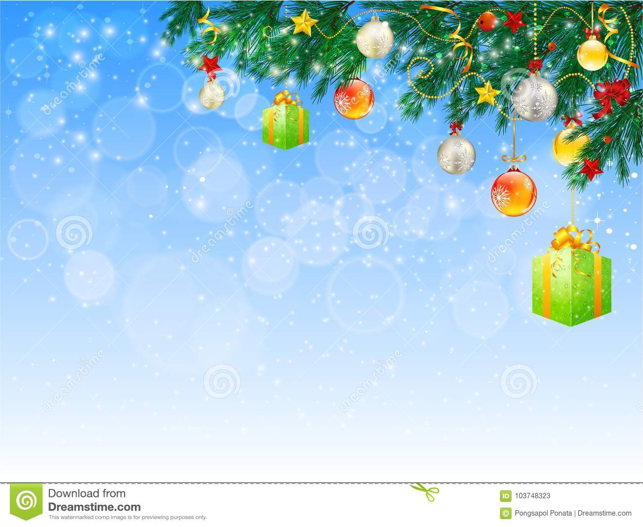 horizontal banner with christmas tree garland and ornaments - How To Decorate A Christmas Tree With Ribbon Horizontally