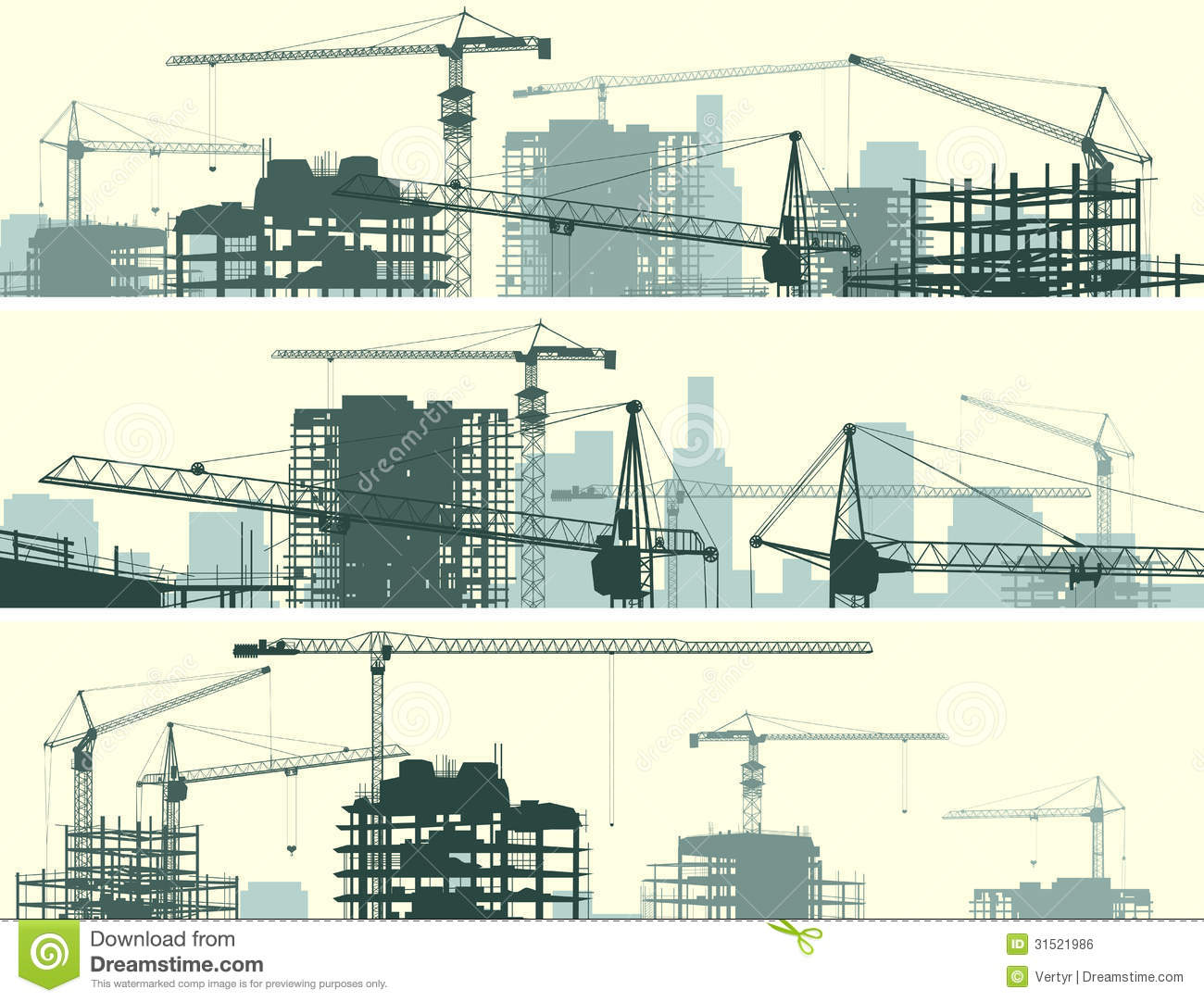 horizontal banner of construction site with cranes and building