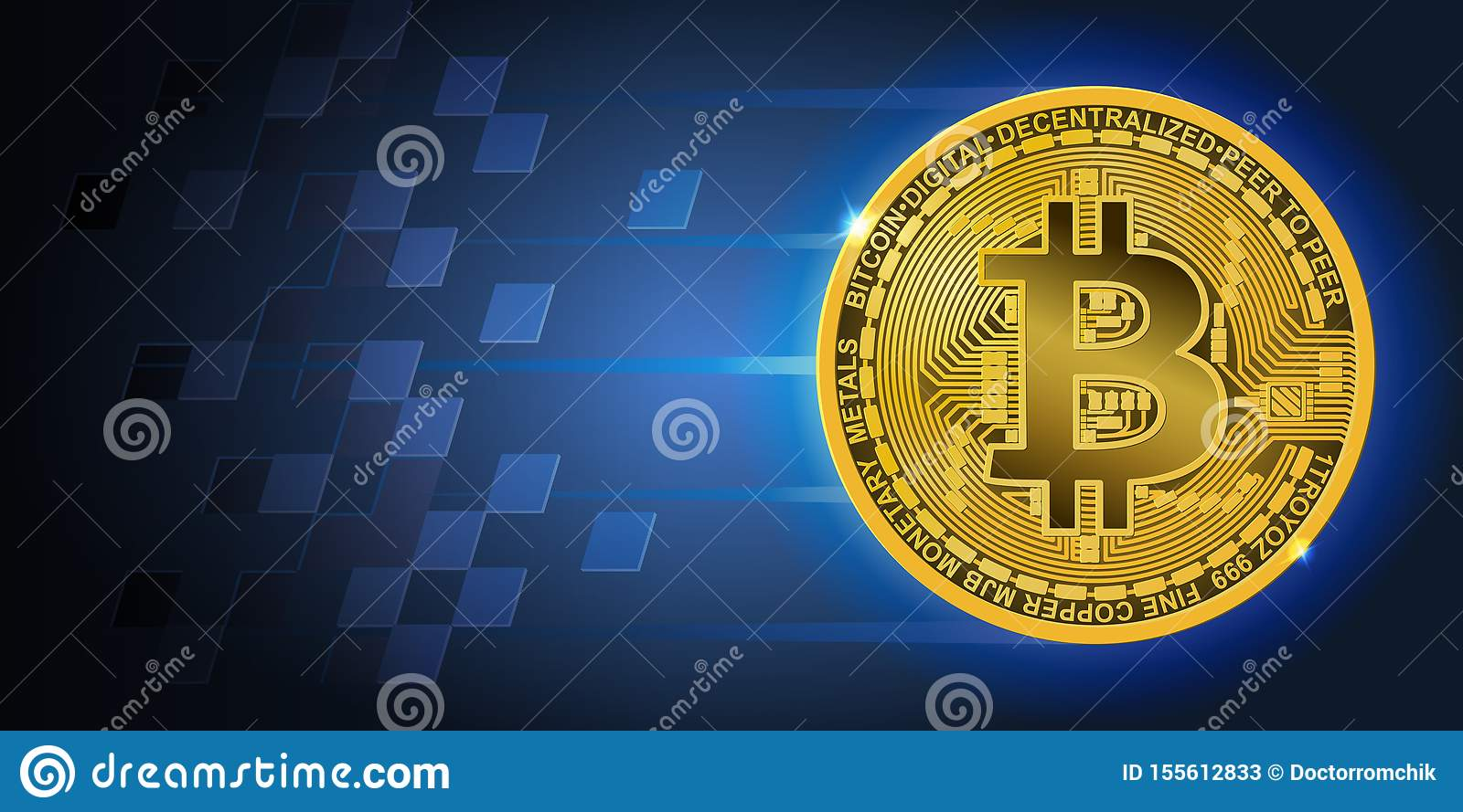 Horizontal banner with golden flying bitcoin and dark blue background