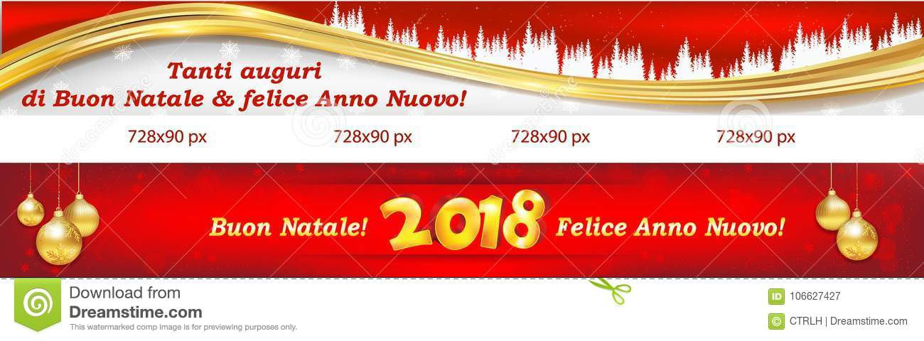 horizontal banner set for christmas and new year 2018 for the italian speaking clients customers text translation merry christmas and happy new year - Merry Christmas In Italian Translation