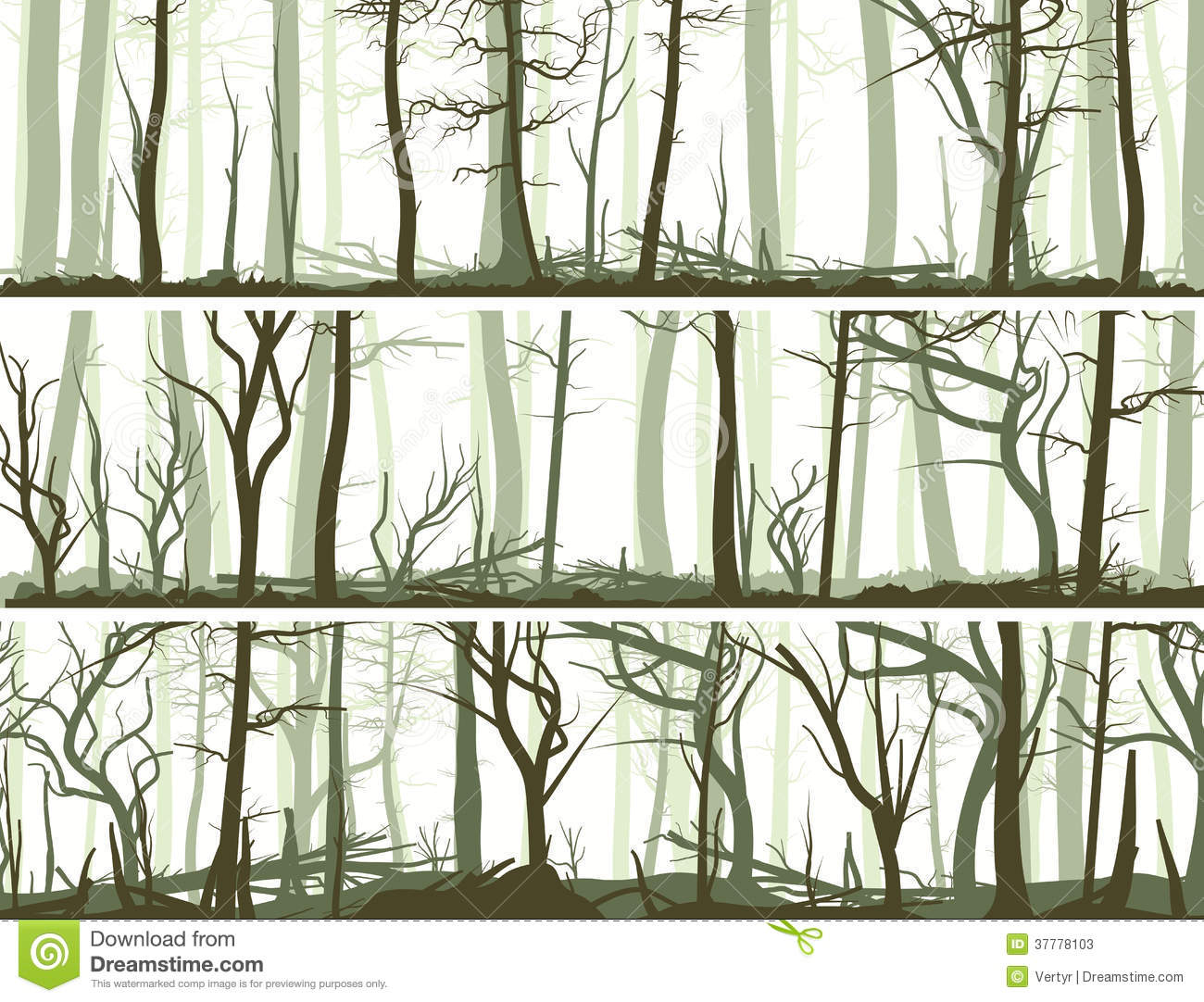 Set Vector Horizontal Banners With Many Tree Trunks coniferous