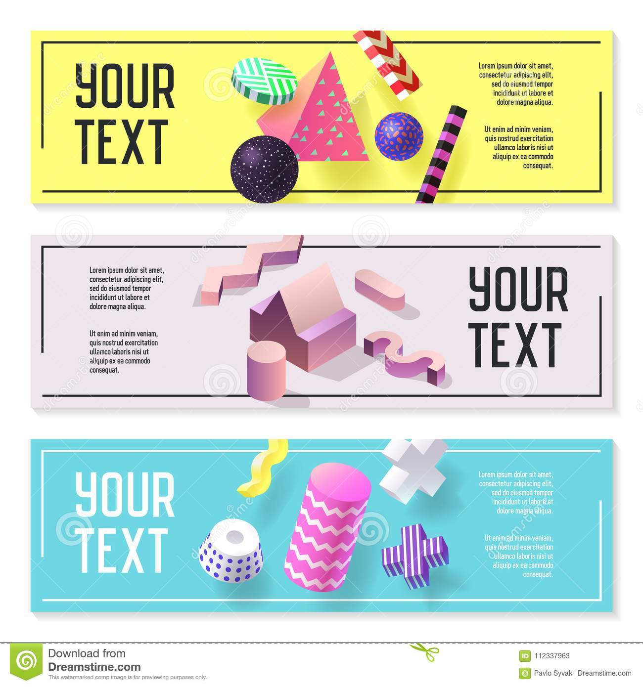 Horizontal Banners Set With Geometric 3d Shapes  Templates
