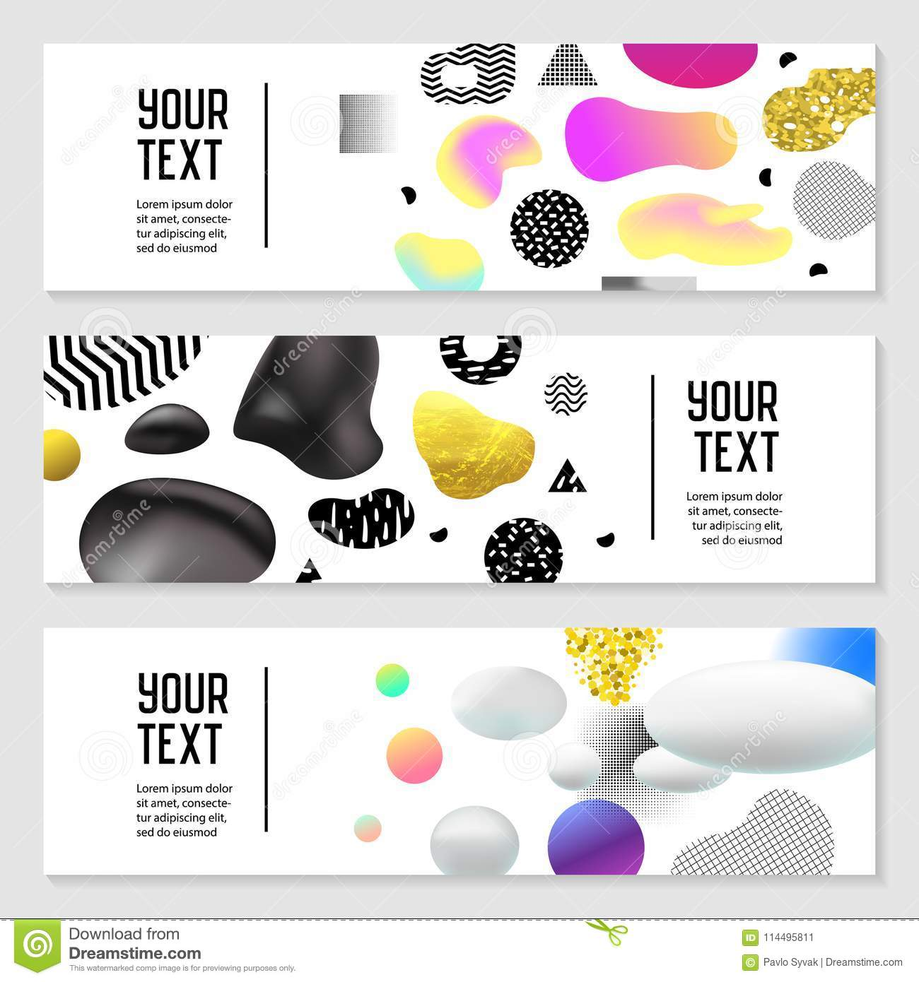 Horizontal Banners Set With Gold Glitter Fluid Shapes Poster