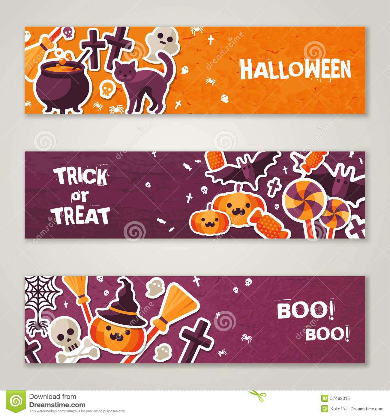 Horizontal Banners Set with Halloween Symbols