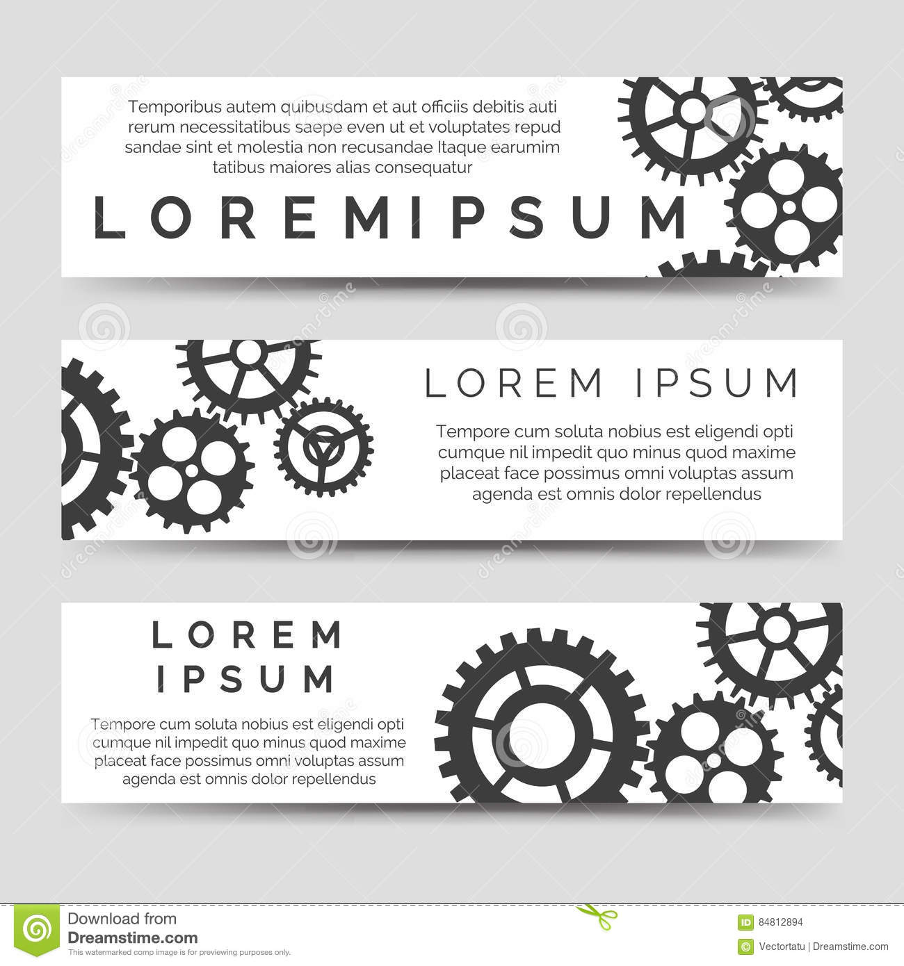 horizontal banners template with gears stock vector illustration
