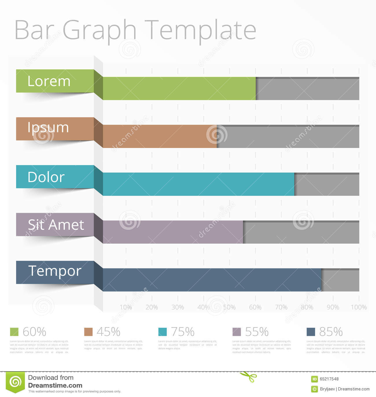 Horizontal Bar Chart Stock Vector Image 65217548