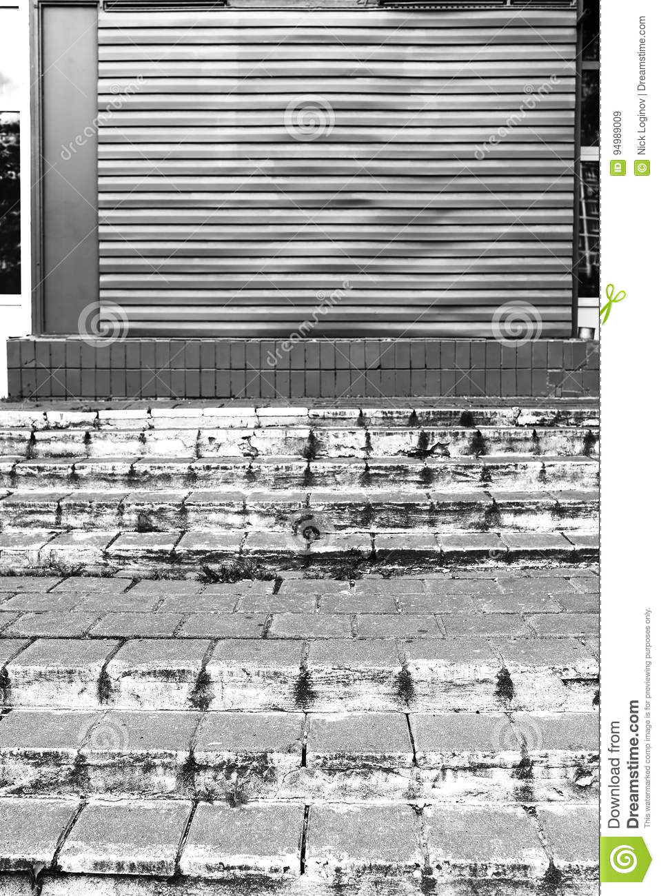 Horizontal Black And White City Stairs Background Stock Image