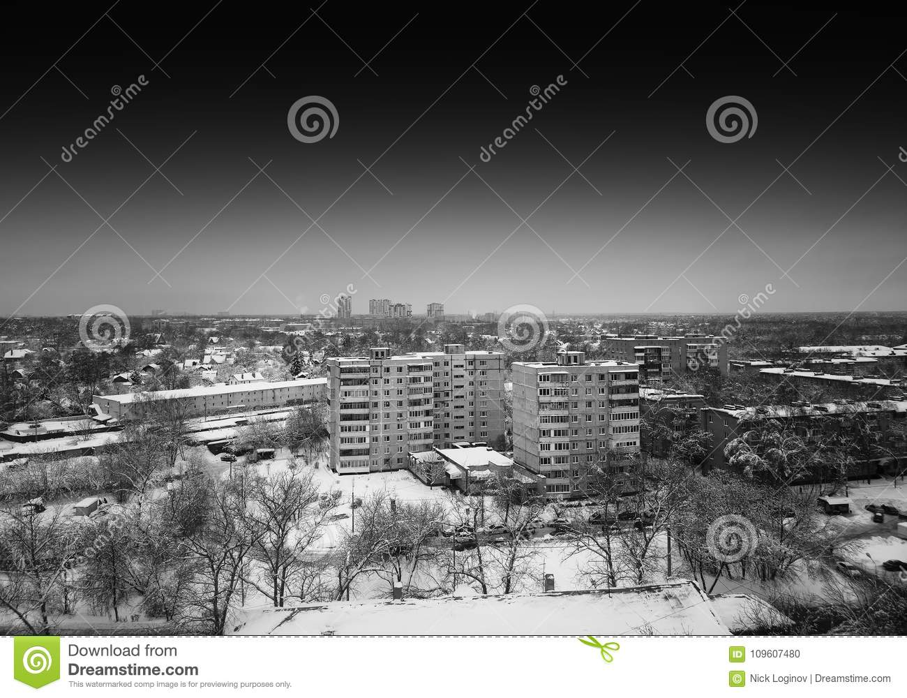 Horizontal Black And White Moscow City Suburbs Background Stock
