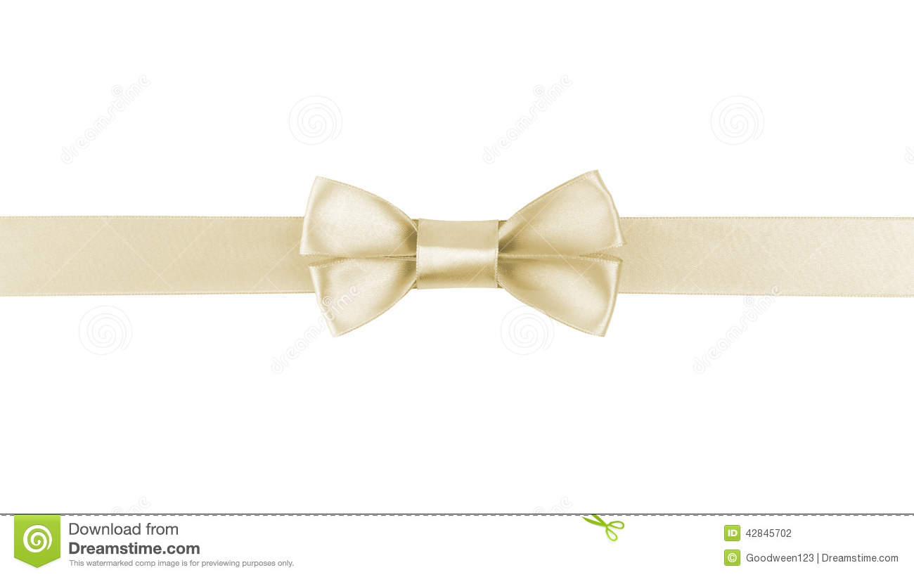 Horizontal border with champagne color ribbon bow