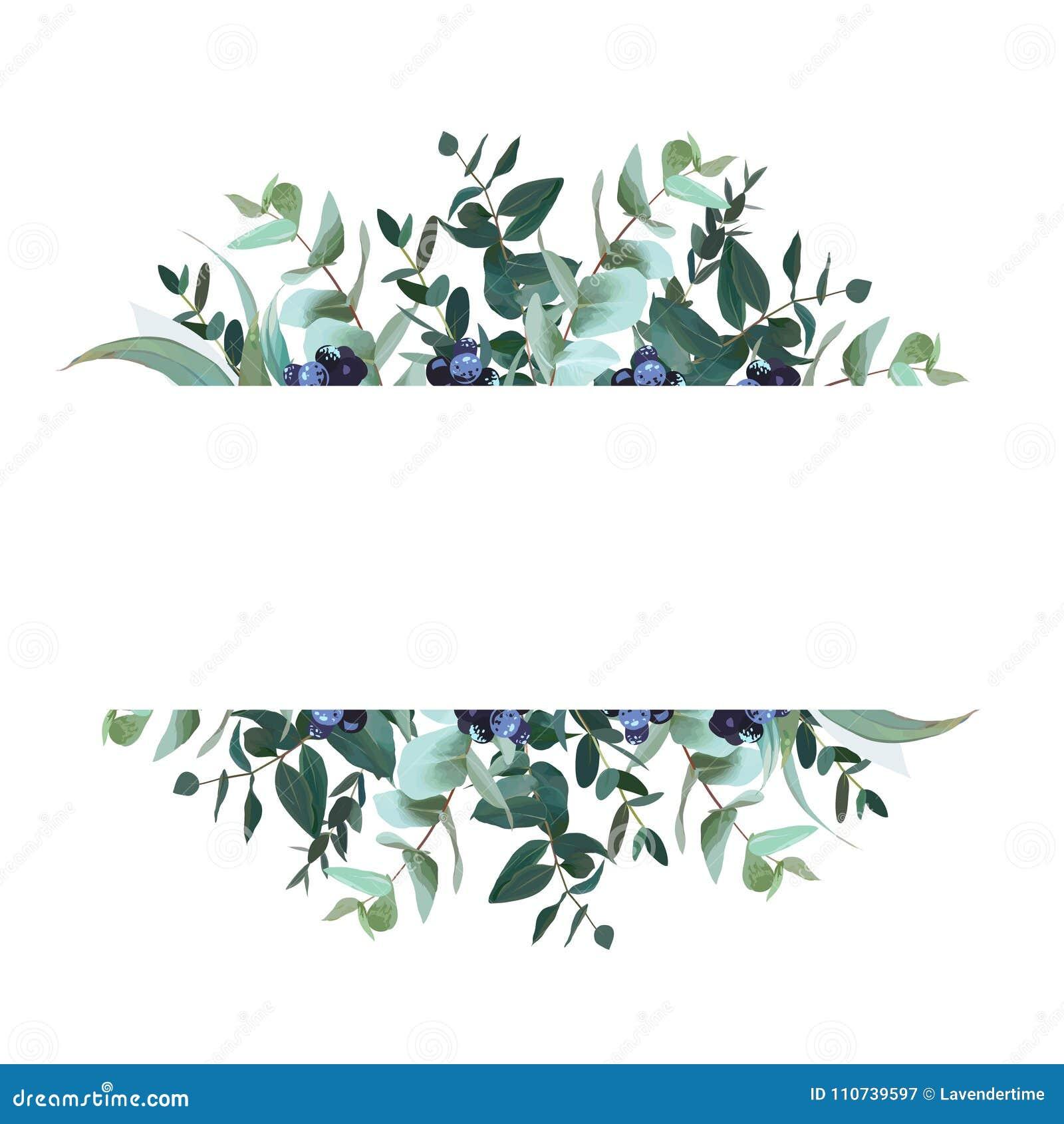 Horizontal Botanical Vector Design Banner Stock Vector