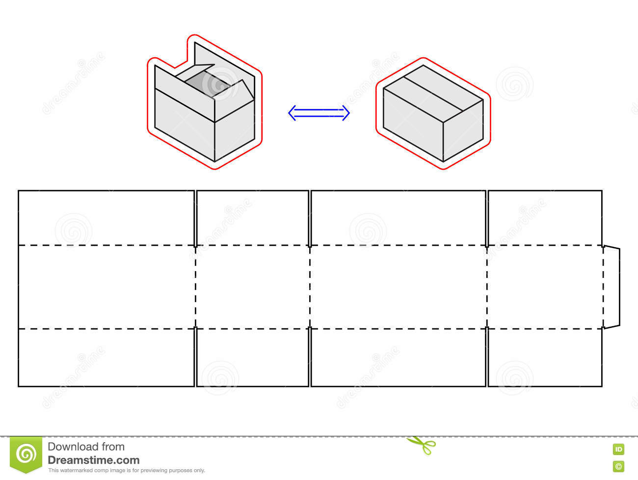 horizontal box template vector packing simple cardboard cut horizontal box template vector packing simple cardboard cut