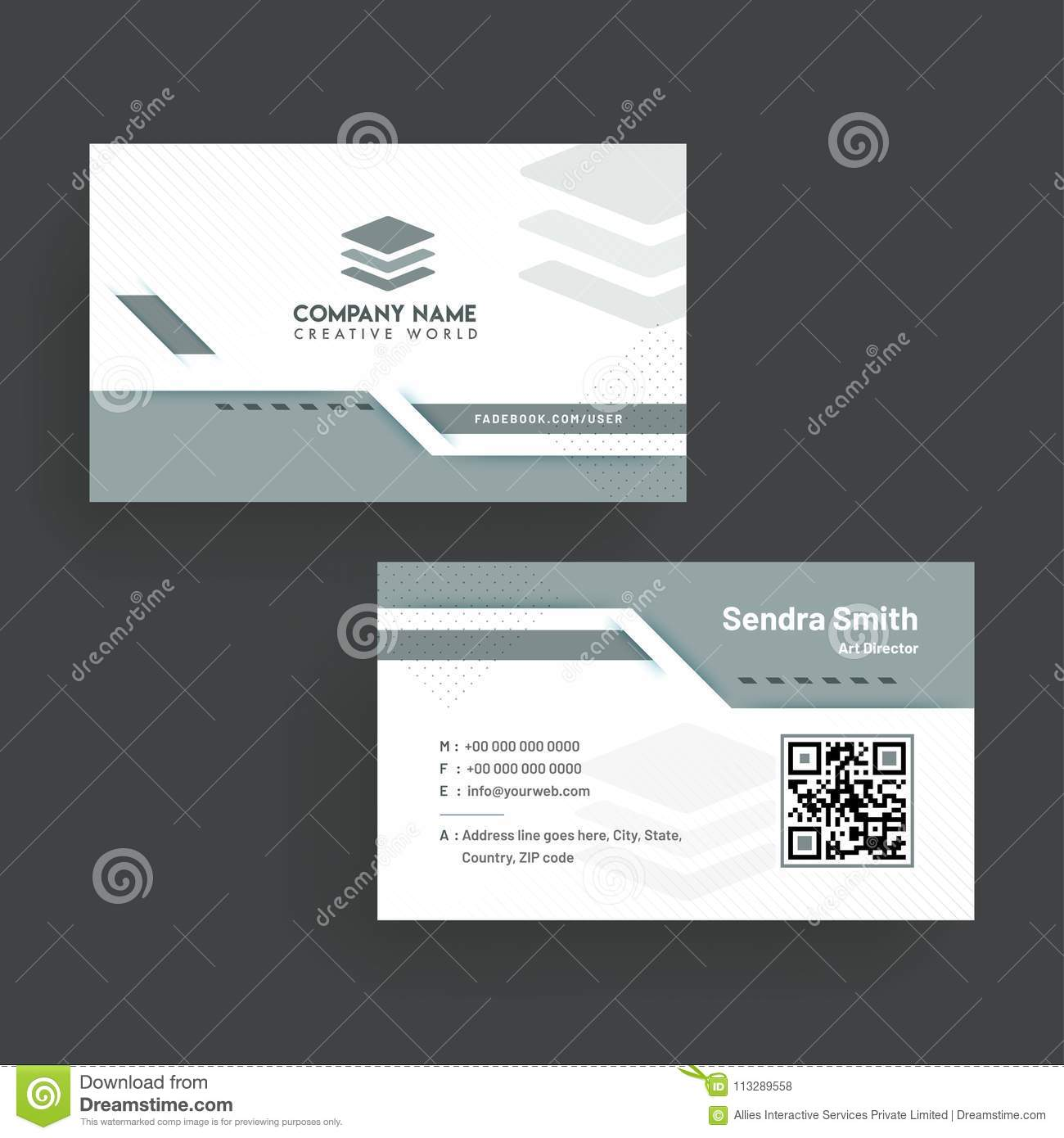 Business Card With Front And Back Presentation Stock Illustration