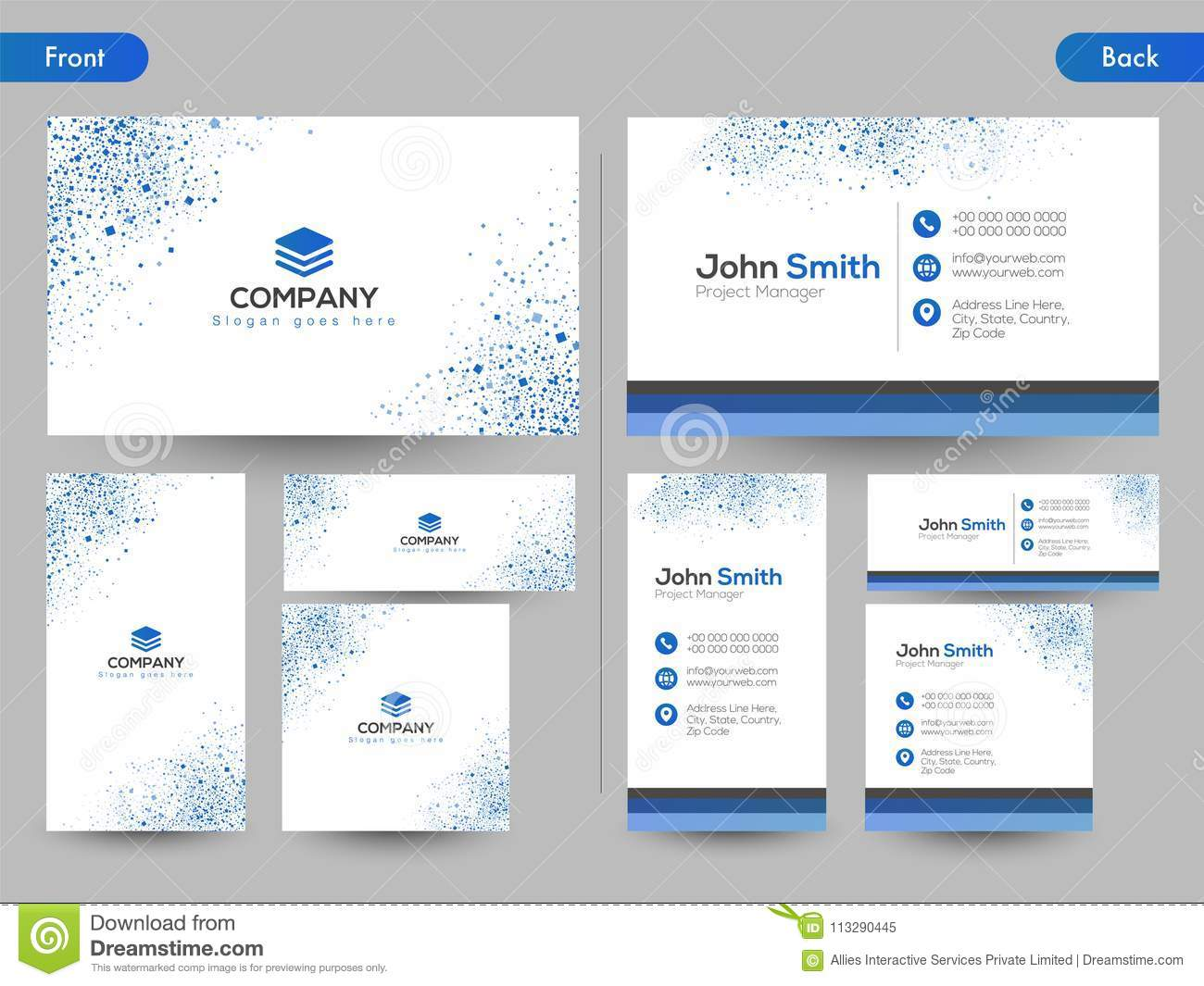 download horizontal business card with front and back presentation stock illustration illustration of identity