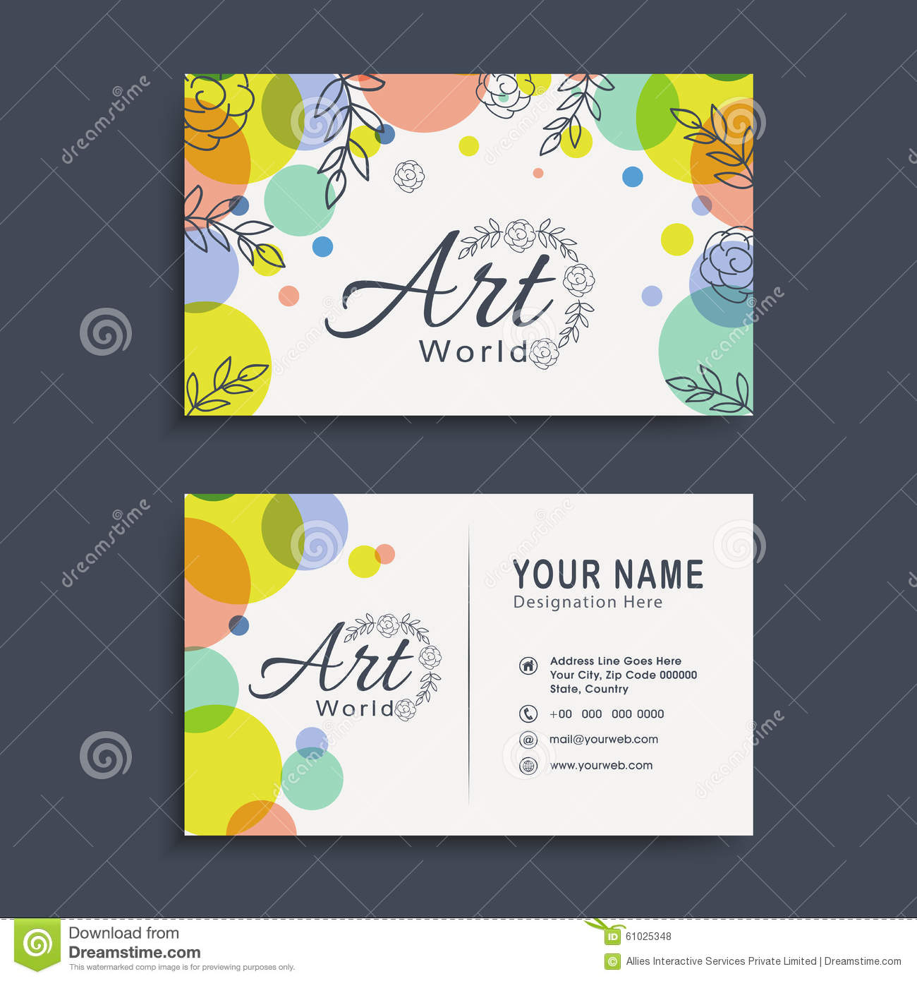 Horizontal Business Card Or Visiting Card Set. Stock Illustration ...