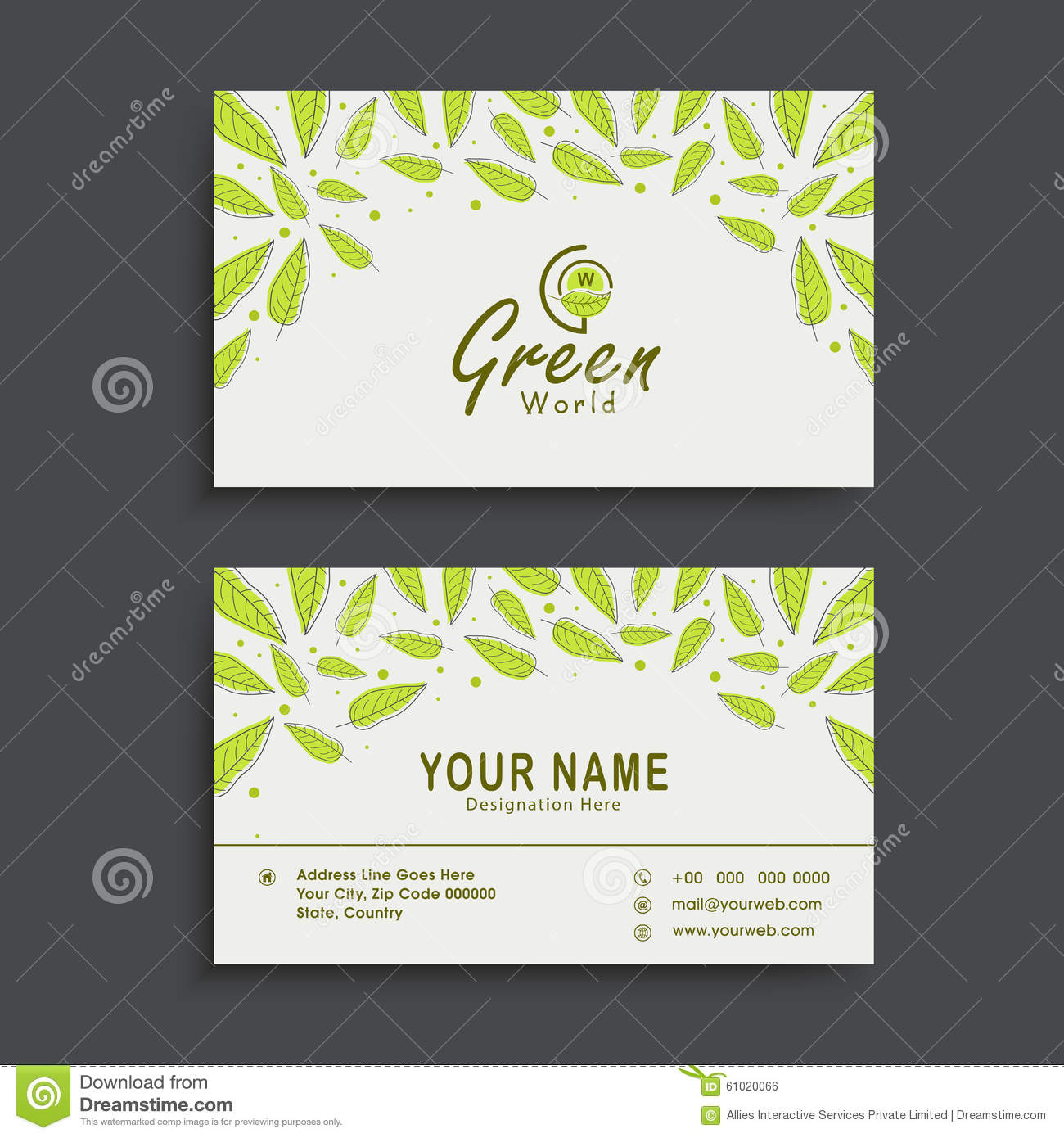 Horizontal business card or visiting card set stock illustration horizontal business card or visiting card set reheart Image collections