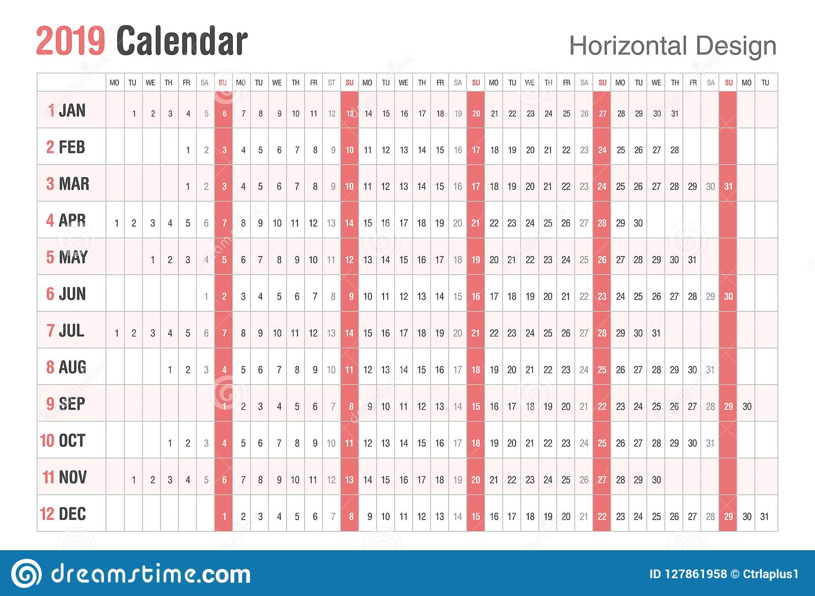 Weekend Calendar 2019 Horizontal 2019 Calendar Design. Vector Simple Style. Sunday