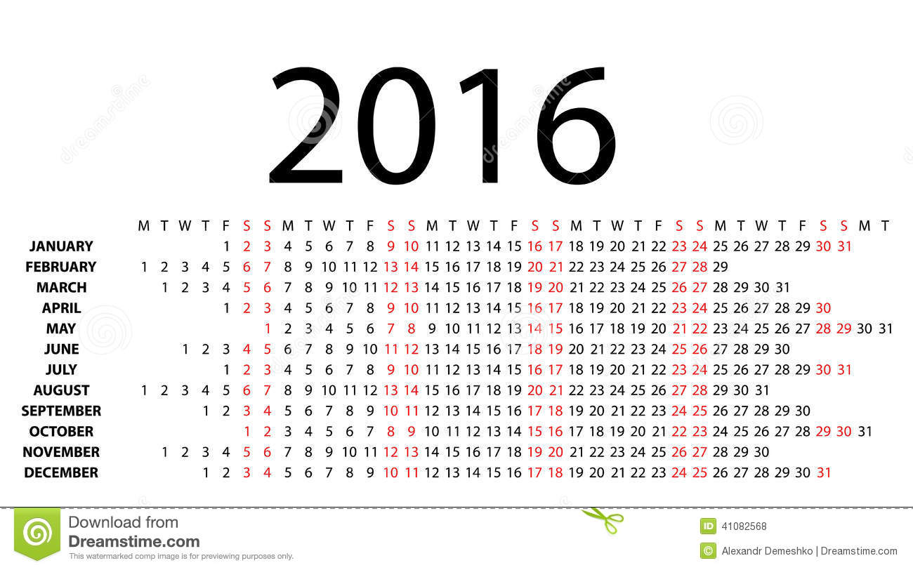Horizontal Calendar For 2016 On White. Stock Vector - Image: 41082568
