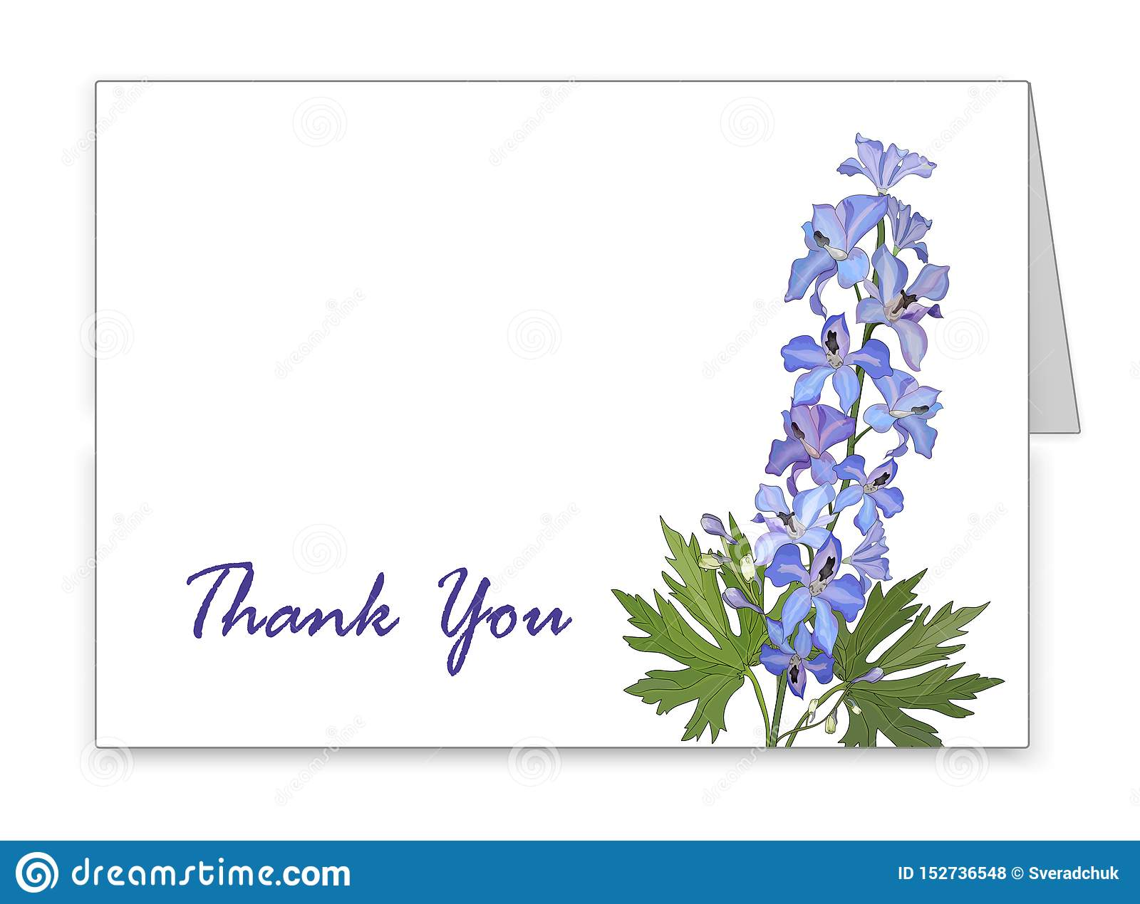 Horizontal card with a blue delphinium flower