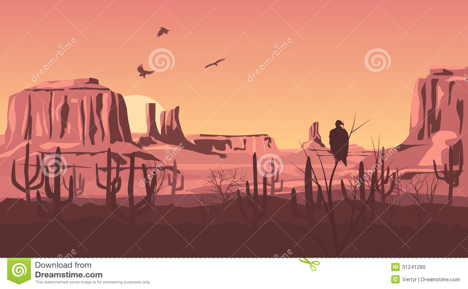 horizontal cartoon illustration of prairie wild west with cacti at