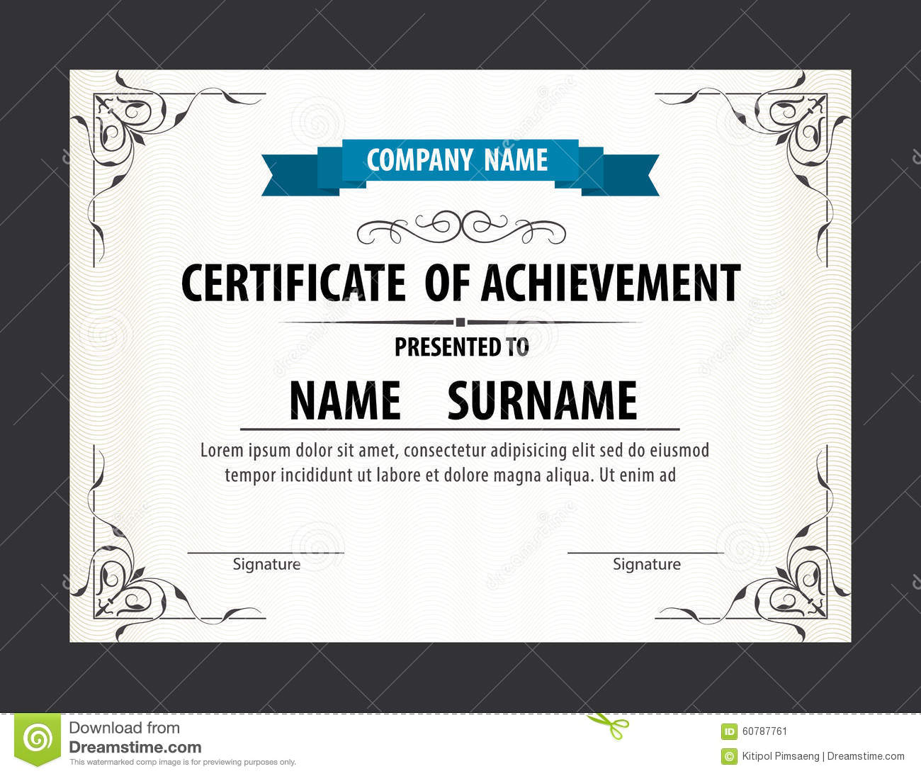 horizontal certificate template diploma letter size