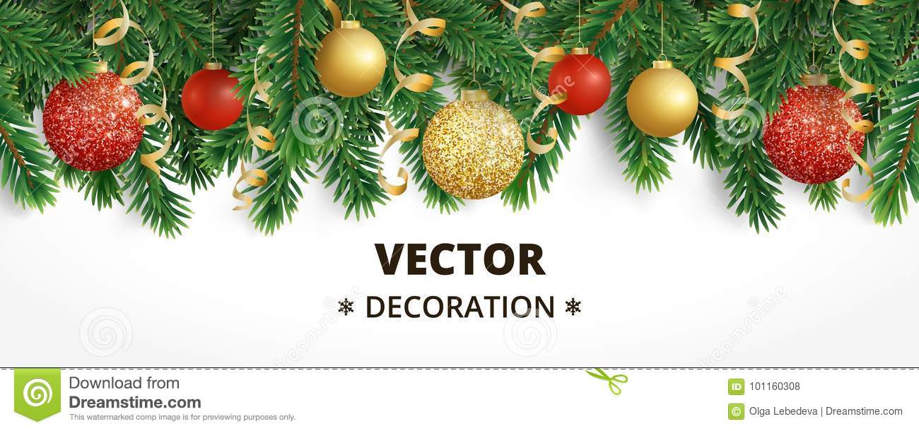 horizontal banner with christmas tree garland and ornaments hanging gold and red balls and ribbons great for flyers posters headers vector illustration - How To Decorate A Christmas Tree With Ribbon Horizontally
