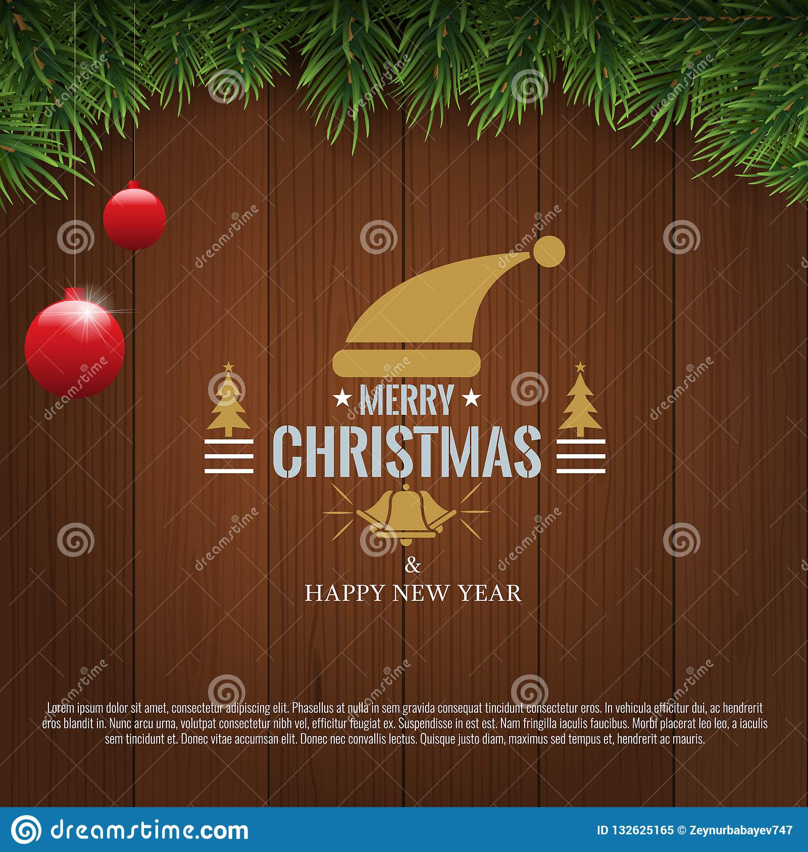 Horizontal Christmas border frame with fir branches, pine cones, berries and lights over wood background. Vector