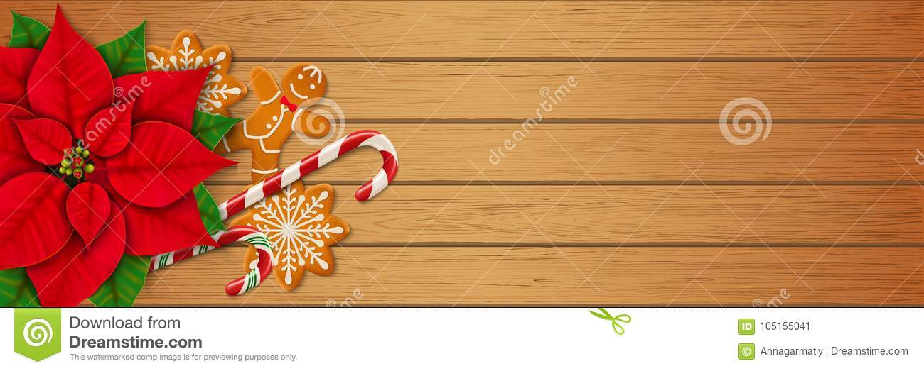 972d9b545600e Christmas Horizontal Web Banner On Wooden Background Stock Vector ...