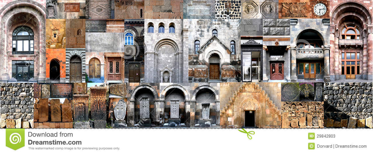 Architectural Building Elements : Horizontal collage architecture of armenia stock image