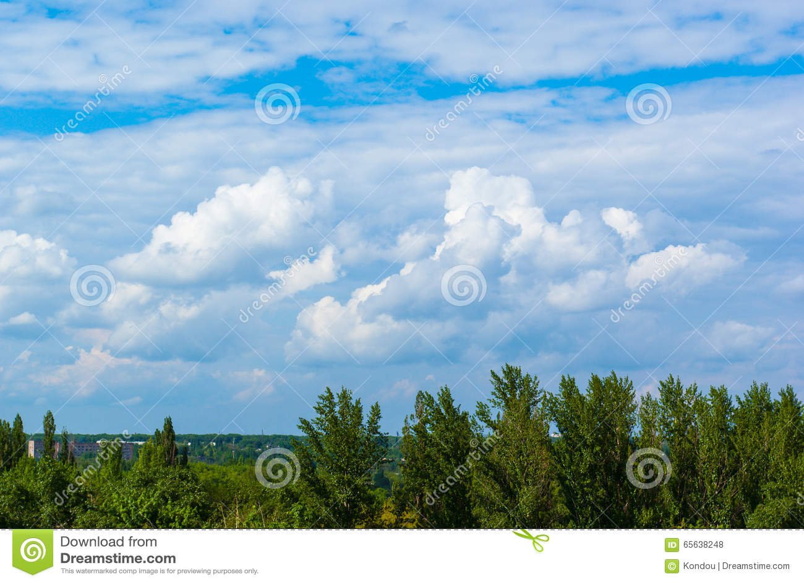 Horizontal d été avec l herbe verte et les nuages