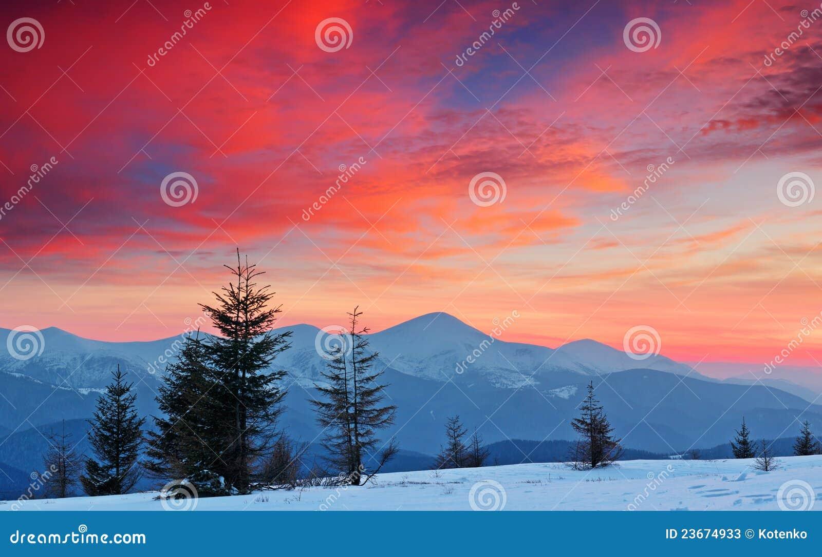 Horizontal de l hiver au coucher du soleil