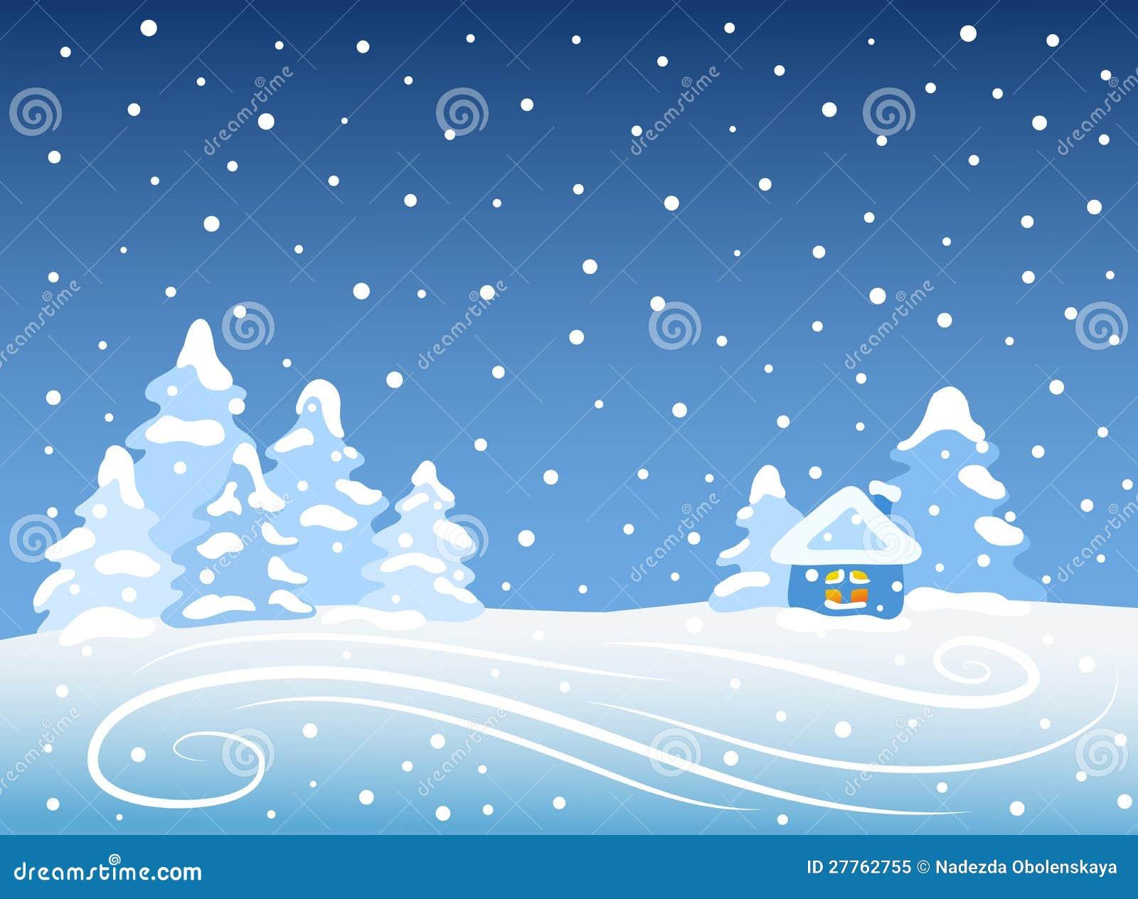 Horizontal de l hiver avec la maison