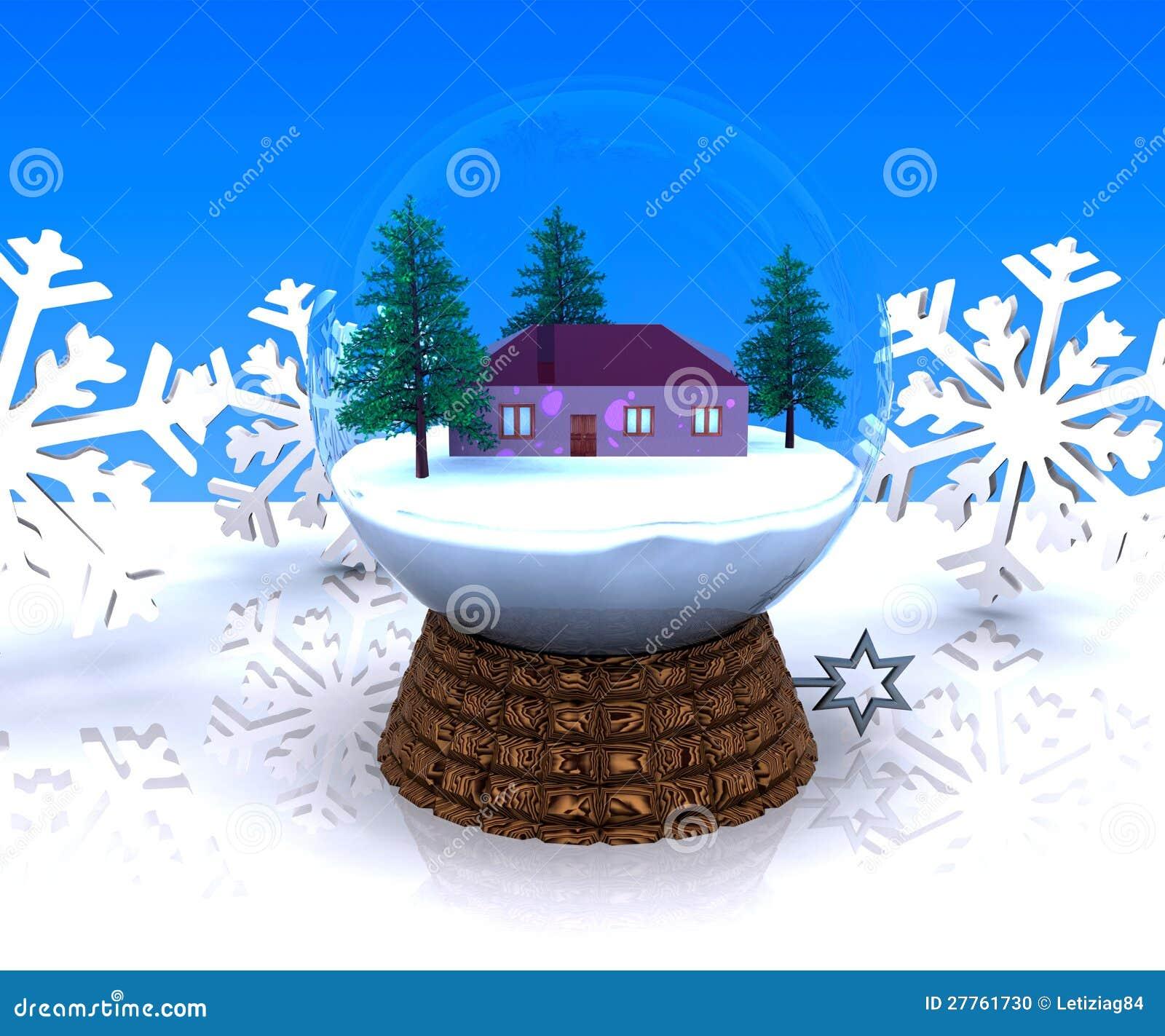 Horizontal de l hiver de Noël de carillon avec la maison
