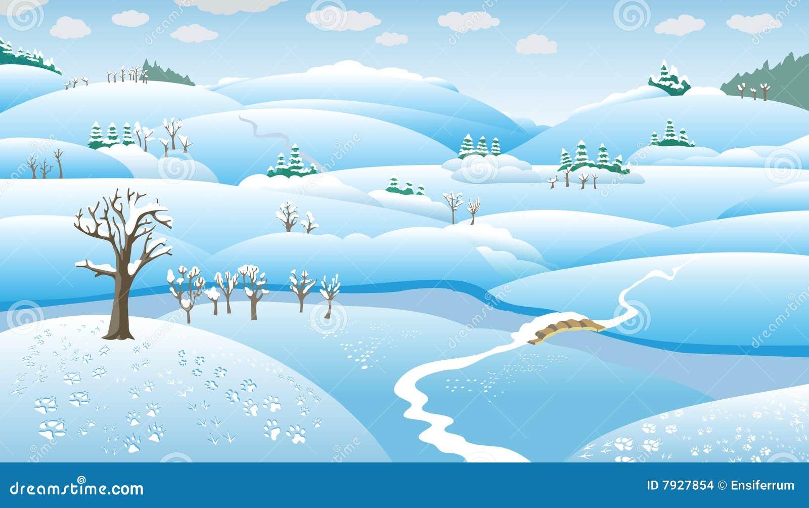 Horizontal de l 39 hiver dessin anim illustration de vecteur illustration du passerelle neige - Dessin de l hiver ...