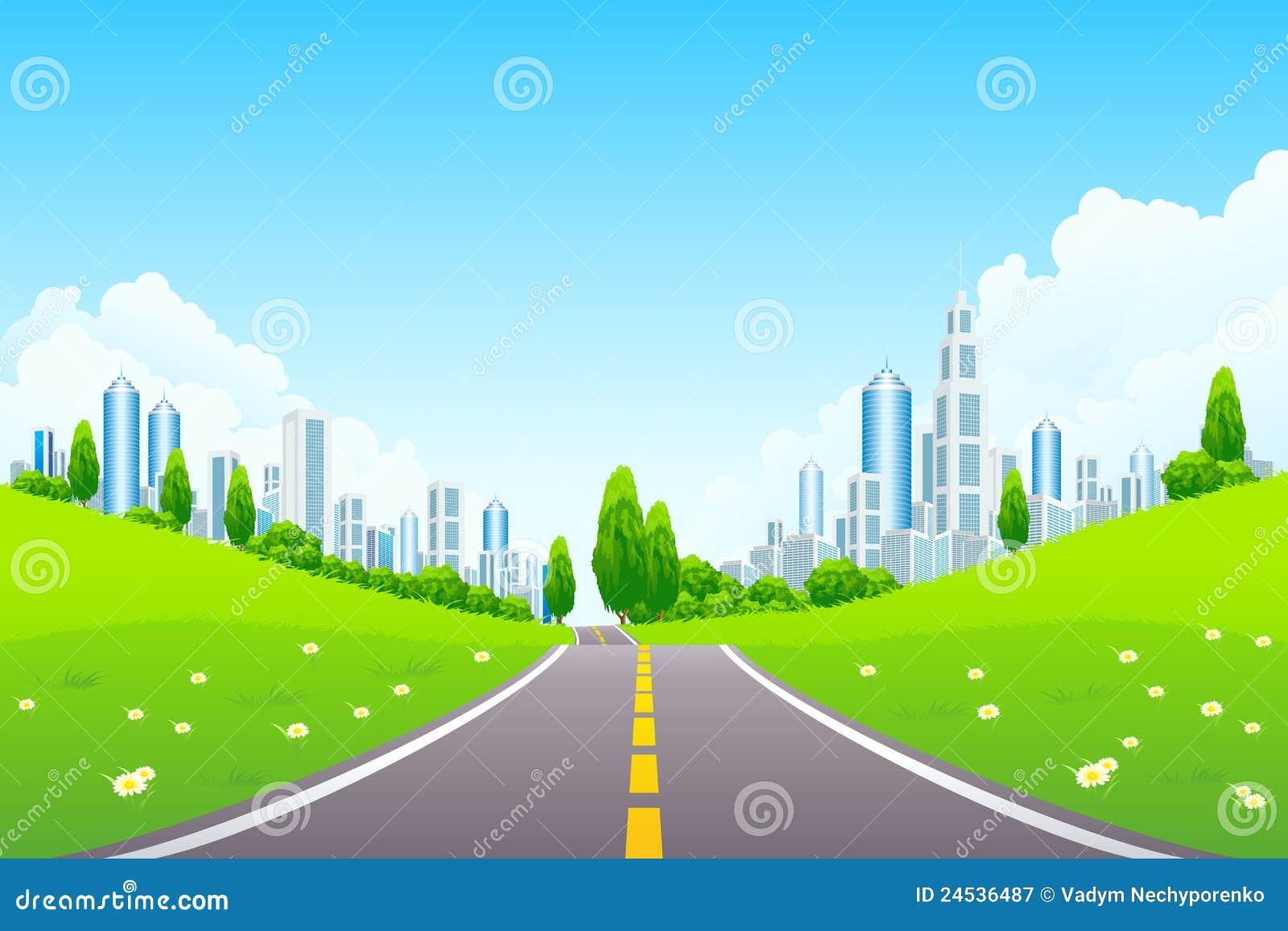 Dessin De Route horizontal de ville avec les arbres et la route illustration de