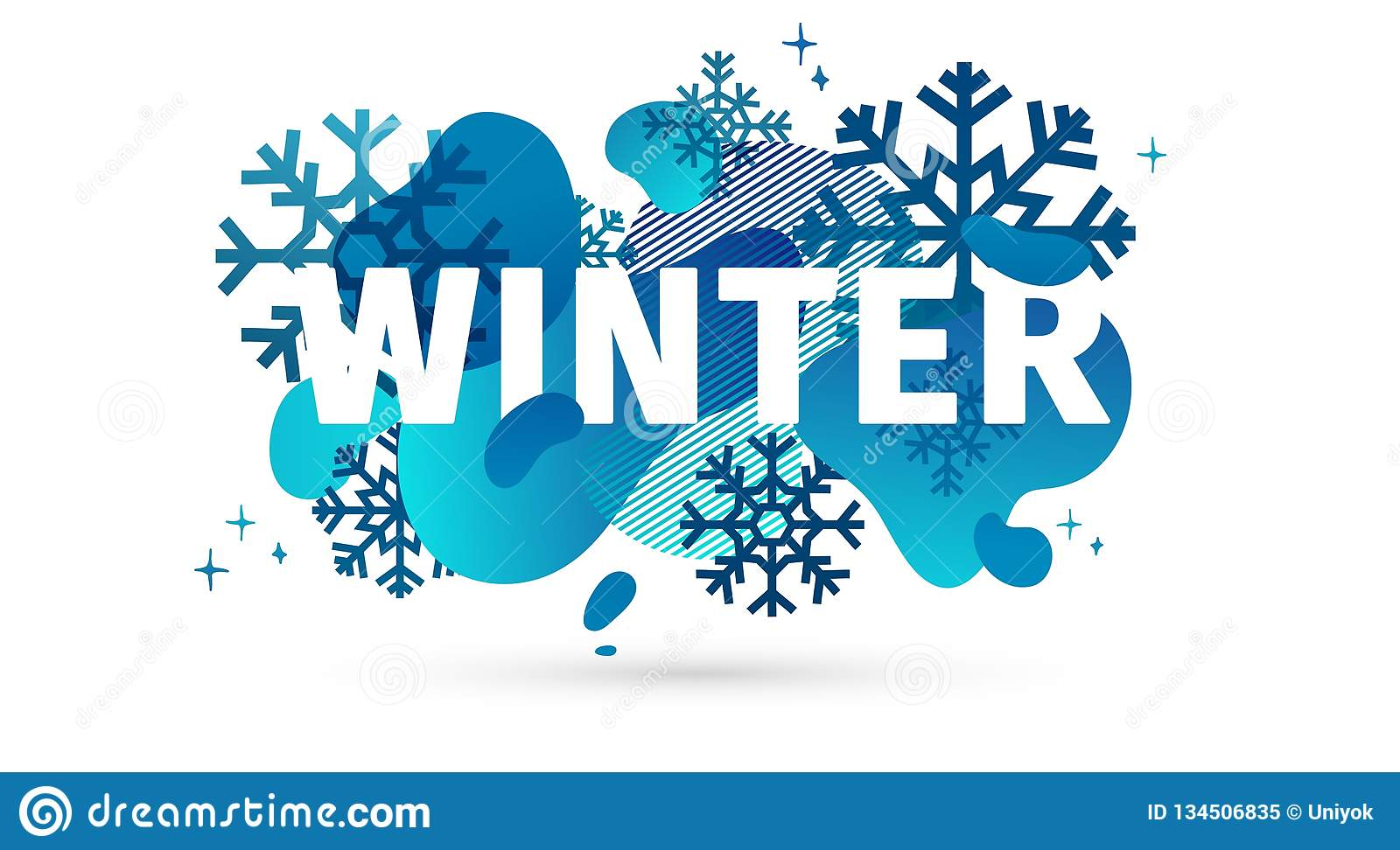 Horizontal Design Winter Template Banner With Abstract