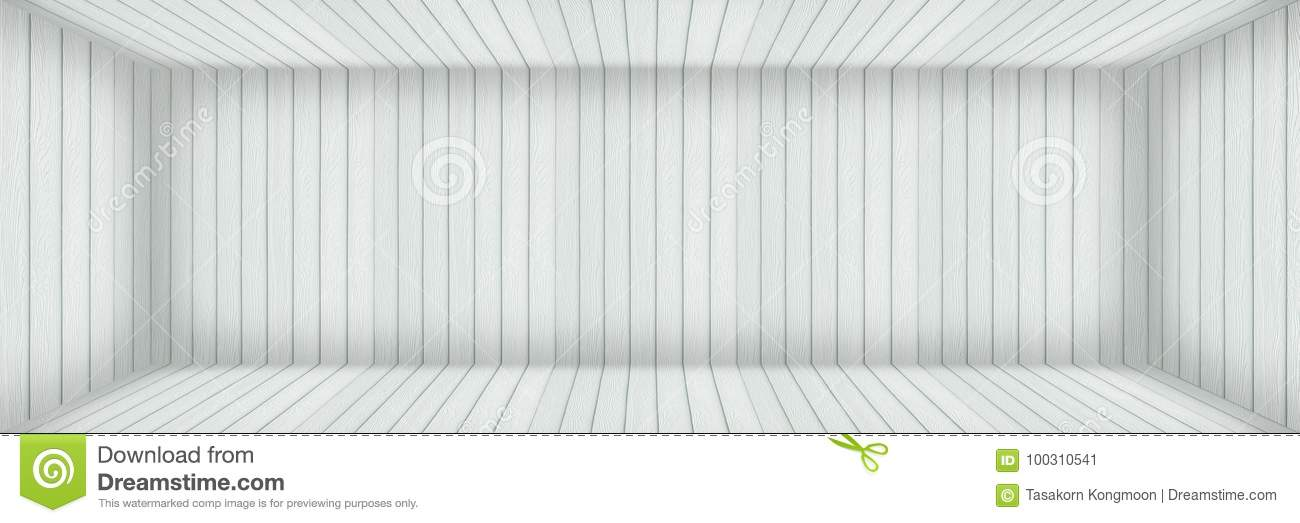 Horizontal Empty Modern White Wood Room With Shadow For Background