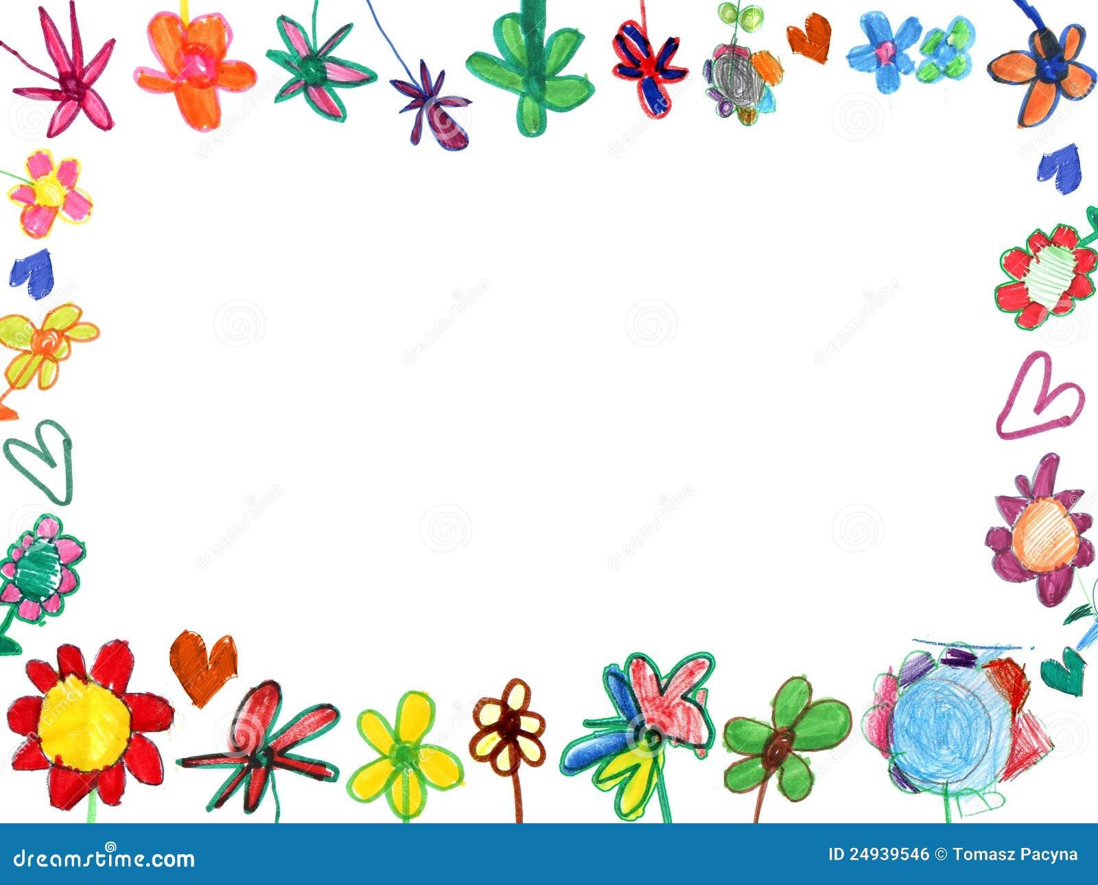 Horizontal flowers frame, child illustration