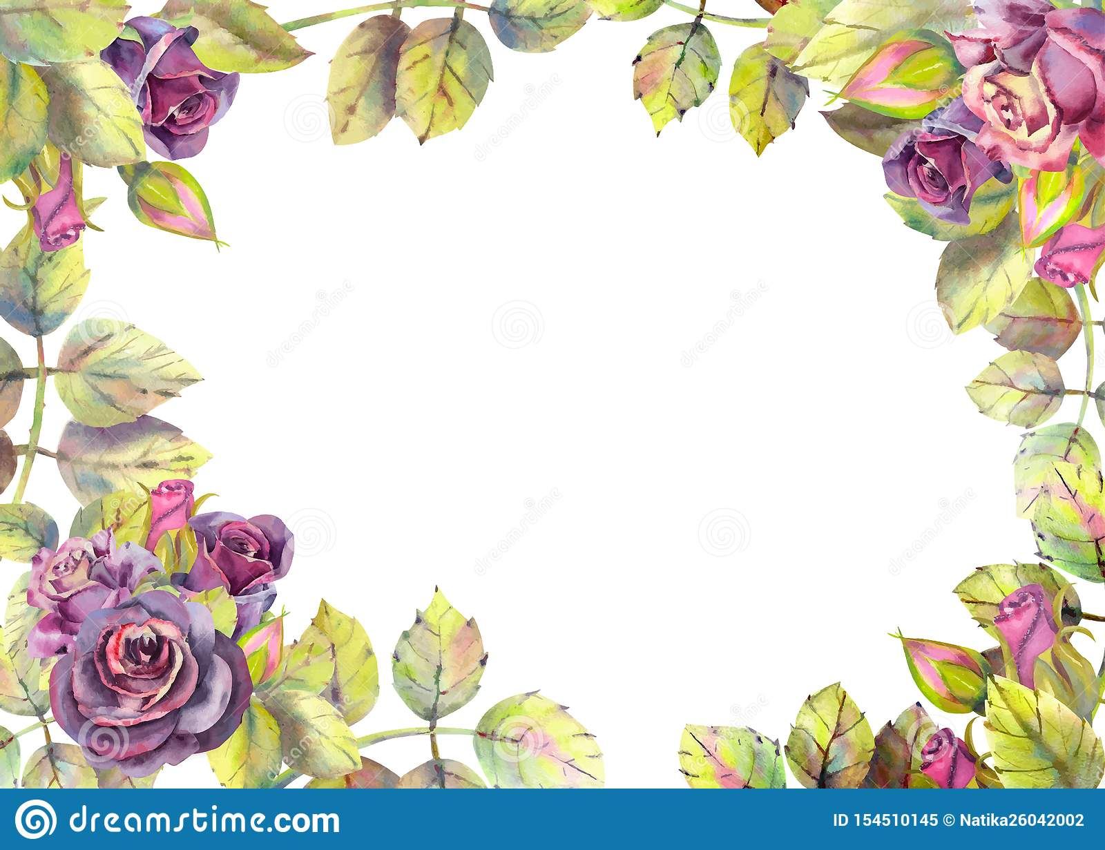 Horizontal frame with dark rose flowers. Compositions for the design of greeting cards or invitations. Vector illustration