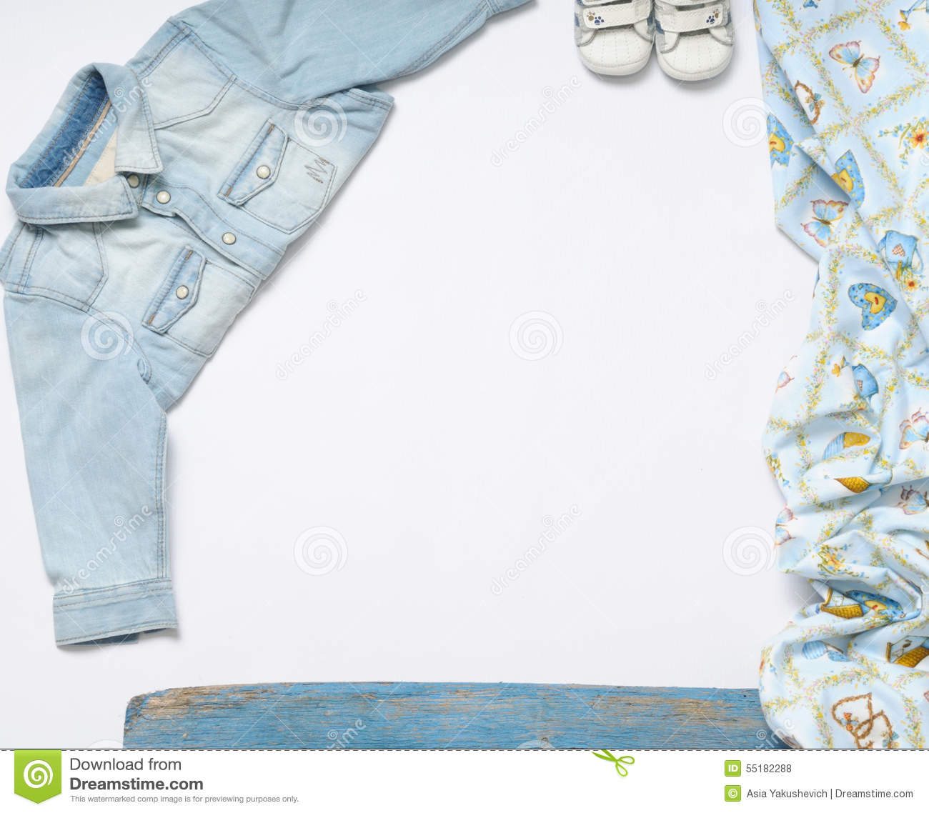 6b2bf41d69594 horizontal frame of jeans stuff and sneakers for baby boy on white  background