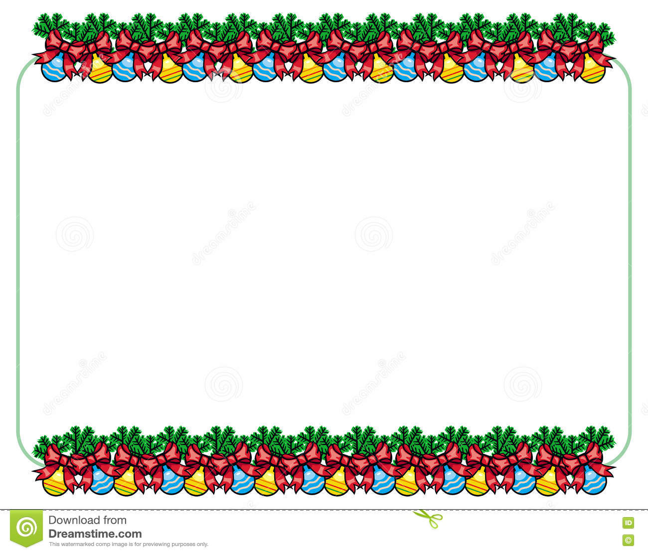 horizontal frame with new year balls