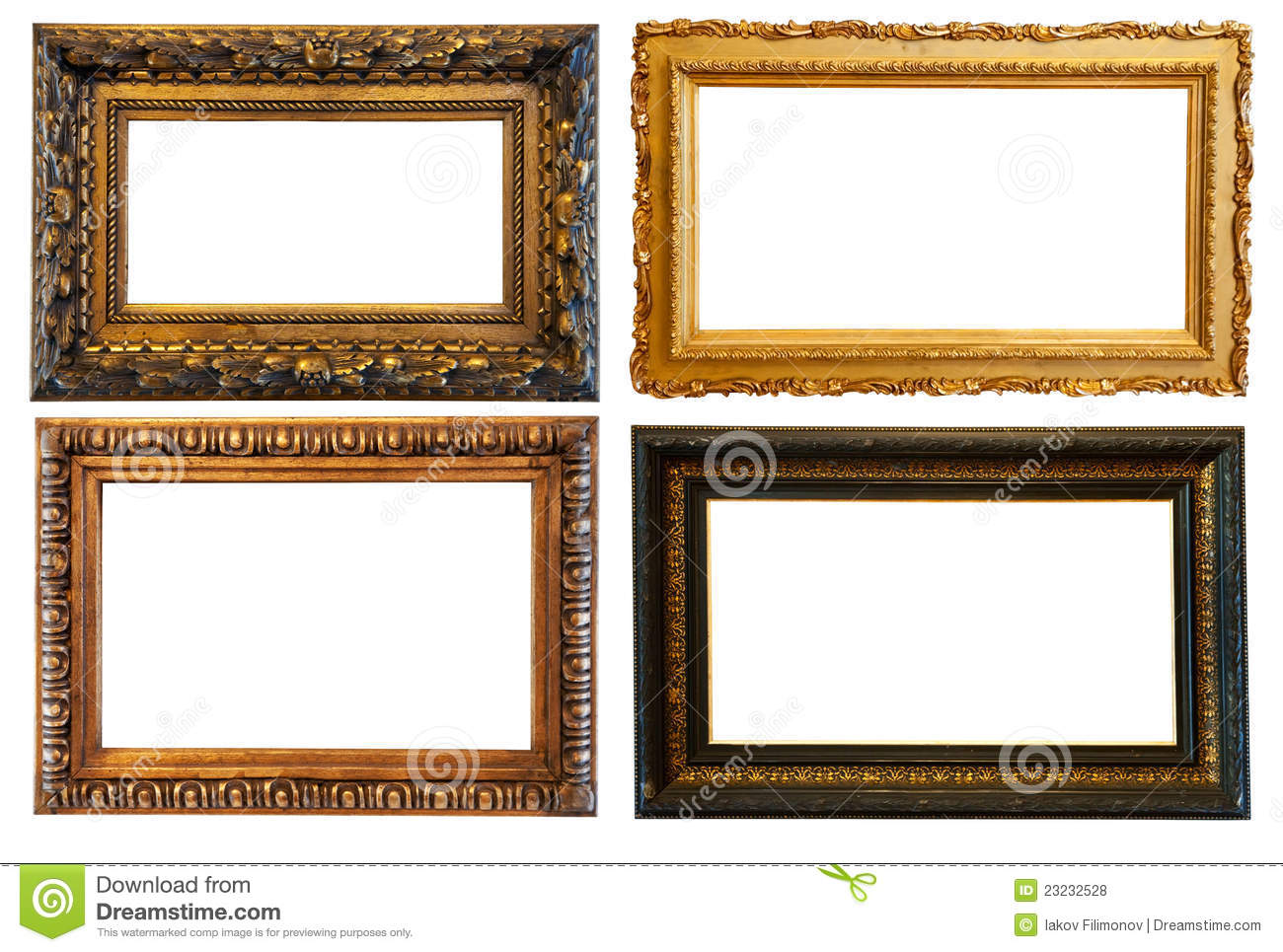 horizontal gold picture frames royalty free stock photos