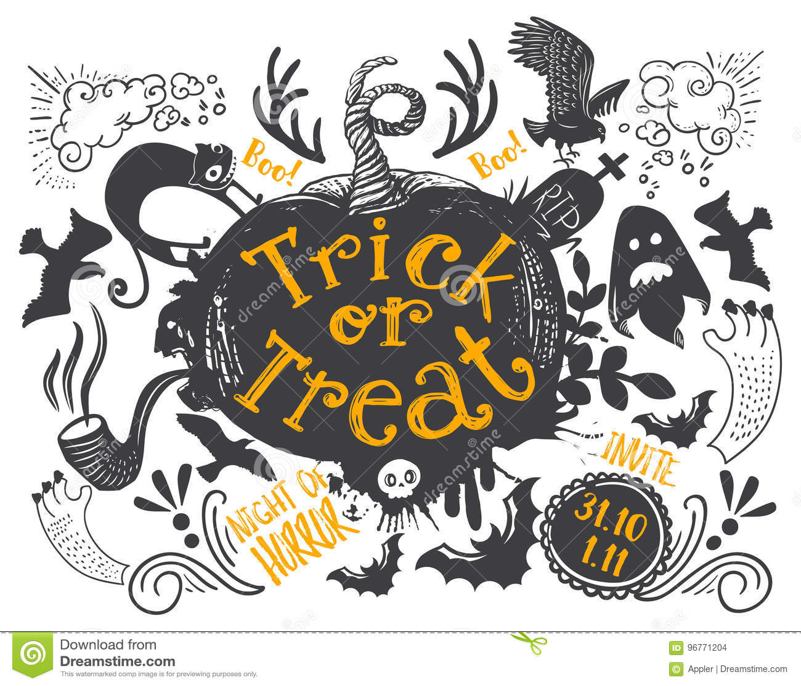 Horizontal Halloween Invite Stock Vector