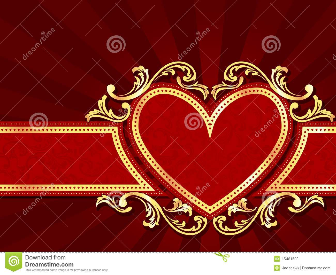 Horizontal Heart-shaped Red Banner With Gold Filig Stock Photo - Image: 15481500