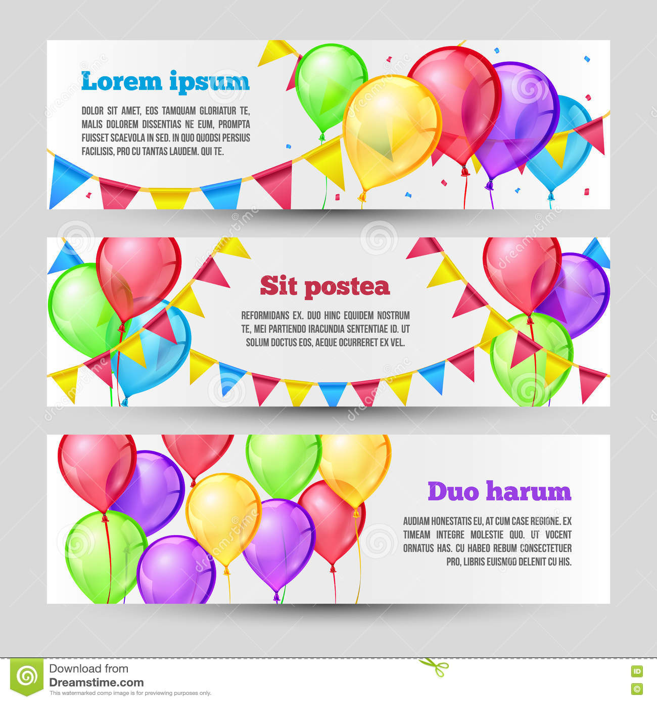 Horizontal Holiday Banners With Color Balloons. Vector