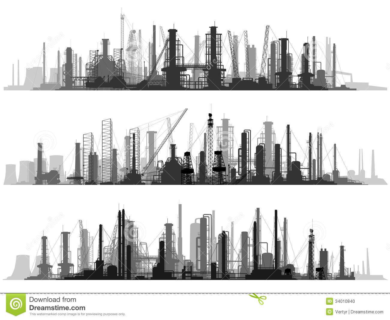 Horizontal Illustration Set Industrial Part Of City. Stock ...
