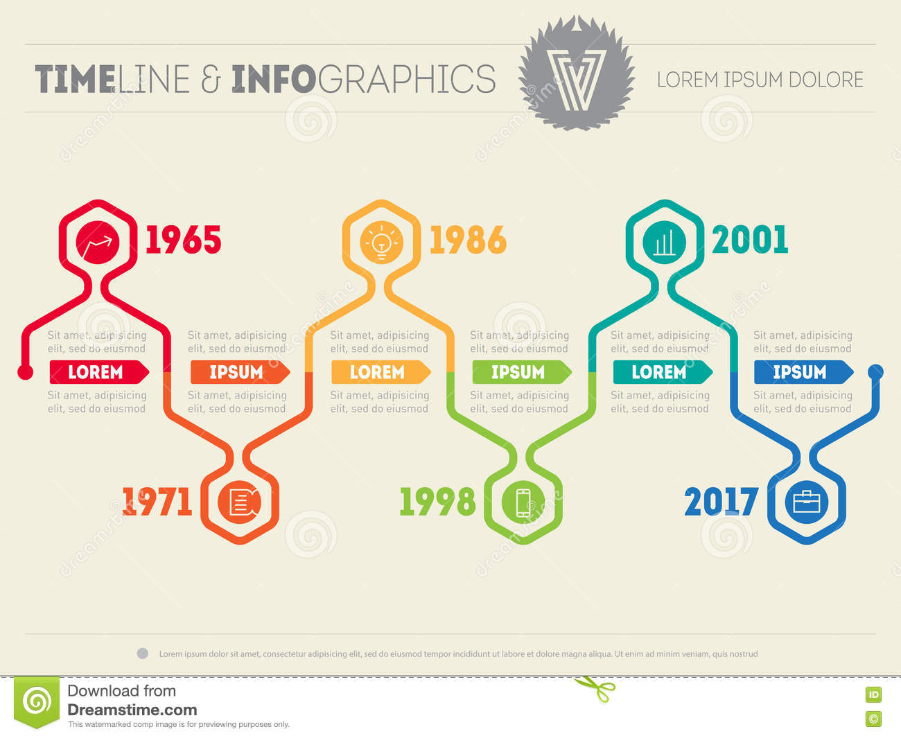 Horizontal Infographic Timelines  Vector Web Template For