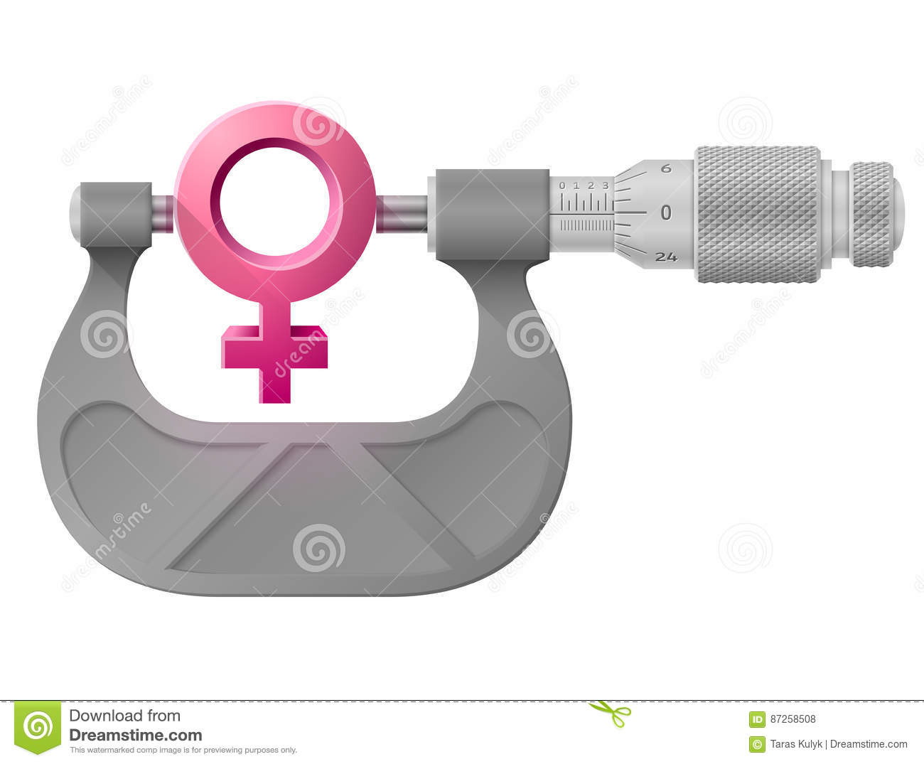 Horizontal Micrometer Measures Female Symbol Stock Vector